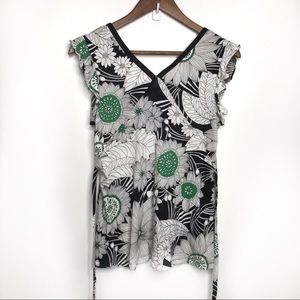 Deletta Anthropologie Belted Top Flowers Size Sm
